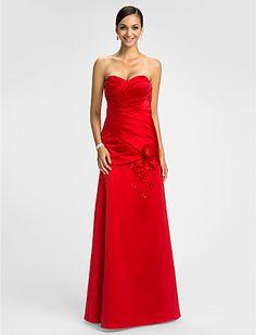 una línea de cariño piso de longitud vestido de dama de honor de raso (605516) - EUR € 116.34