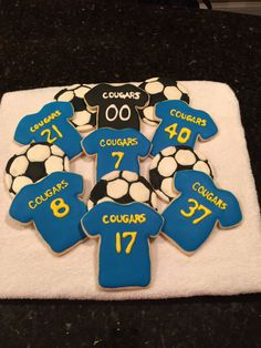 Soccer cookies for Senior night or Soccer Banquet. Made with Downingtown East Girls Soccer numbers.