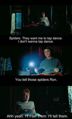 Best quote of Harry Potter and the prisoner of Azkaban -  Ron and his fear of spiders