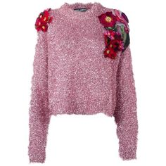 Dolce & Gabbana flower appliqué detail jumper ($3,845) ❤ liked on Polyvore featuring tops, sweaters, long sleeve sweater, purple jumper, purple top, purple sweater and long sleeve tops