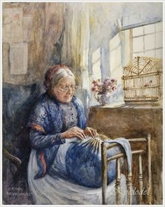 Bertha Newcombe (British, 1857-1947) «Lacemaking»