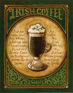 Irish Coffee ~ Hot coffee oz Irish Whiskey oz Kahlua Whipped cream Green Creme de Menthe Pour hot coffee over Irish Whiskey & Kahlua add whipped Cream. Drizzle Creme de Menthe over cream. Irish Coffee, Irish Whiskey, Coffee Cafe, Irish Beer, Coffee Logo, Coffee Humor, Coffee Shop, I Love Coffee, Hot Coffee