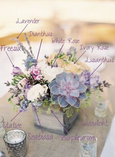 Succulent wedding centerpieces 17 ideas for 2019 Lavender Centerpieces, Succulent Centerpieces, Wedding Table Centerpieces, Centerpiece Ideas, Centerpiece Flowers, Lavender Wedding Decorations, Succulent Bouquet, Flower Decoration, Purple Centerpiece Wedding