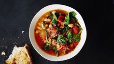 Spicy Sausage and White Bean Soup Recipe | Bon Appetit