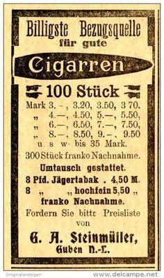Original-Werbung/ Anzeige 1912 - CIGARREN - STEINMÜLLER - GUBEN - ca. 45 x 75 mm