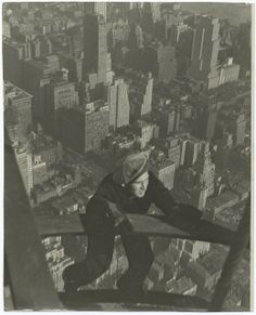 Balancing on two steel beams of the Empire State Building, 1931