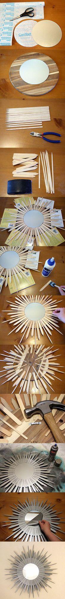 Espejo con forma de estrella – DIY Starburst Mirror A través del siguiente tutorial fotográfico puedes observar, paso a paso, cómo elaborar un artístico espejo con madera balsa. Luce espectacular. Uti