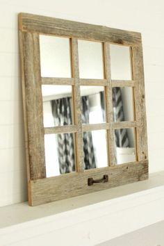 Farmhouse Mirrors, Farmhouse Windows, Farmhouse Decor, Farmhouse Style, Window Pane Mirror, Window Art, Decorating Your Home, Diy Home Decor, Decorating Ideas