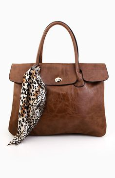 Briefcase Tote Bag in Taupe | DAILYLOOK