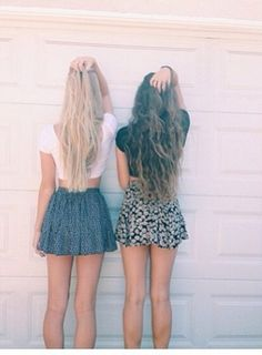 Best friend picture we should do something like this but in the woods when we make our skirts