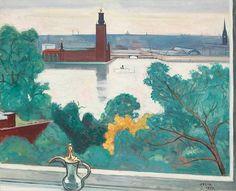 "Einar Jolin ""Fönstret med utsikten"" (Window with a View). Through The Window, Sweden, Auction, Colours, Windows, Draw, Fine Art, Artwork, Pictures"