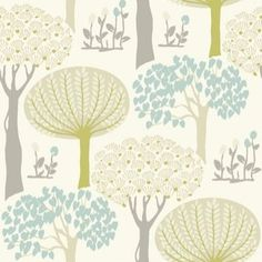 Bernwood Teal - Arthouse Wallpapers - A delightful retro Art Nouveau inspired design with stylised tree motifs in metallic teal and lime green and light brown on a cream background. Please request sample for true colour match.