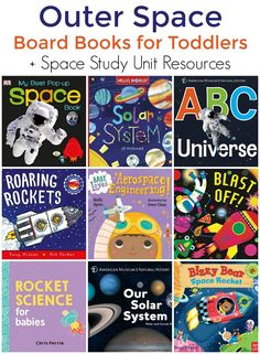 Space Books for Toddlers (Board Book Edition + Space Study Unit) - Mommy Evolution - Toddler Books, Childrens Books, Baby Books, Toddler School, Tot School, Toddler Fun, High School, Space Books, Evolution