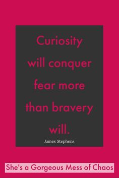 Curiosity will conquer fear more than bravery will.   James Stephens. #LoveChangesPeople  #loveandcontradictions #quote