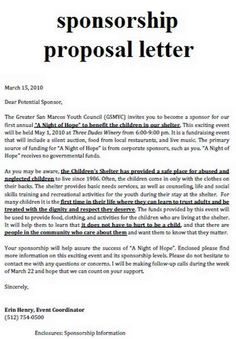 Write A Letter Requesting Sponsorship Fundraising
