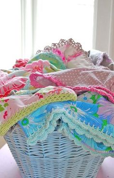 crocheted edge pillow cases My grandmother did this to all her pillow cases
