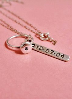 Initial Necklace with date stamp