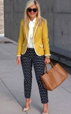 Cute polka dot pants and professional blazer and top