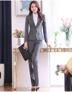6b8d2a397 2016 Winter Formal OL Office Uniform Design Women Pant Suits Blazer 2 piece  Sets Gray Elegant
