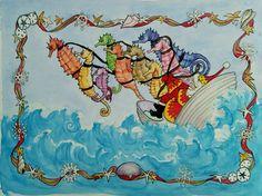 Santa and Seahorses by Sheila Nash