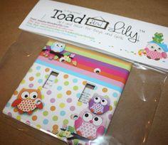 Polka Dot Owl Girls Bedroom Double Light Switch Cover