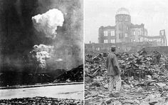 The recently found photograph (left) of the mushroom cloud after the atomic bombing of Hiroshima
