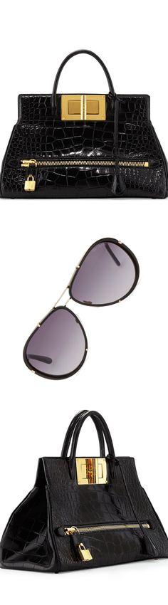 Tom Ford Natalia Alligator Doctor Bag, Black and Cyrille Aviator Sunglasses, Rose Golden/Black LOOKandLOVEwithLOLO