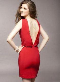 Deep V Backless red dress