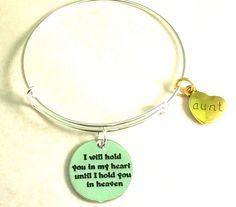 AUNT In HEAVEN Bracelet  Adjustable Wire Charm Memory Loss Love #HandmadewithLove #Bangle