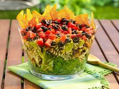 Layered Mexican Party Salad perfect for our Pampered Chef Trifle Bowl # 2832.
