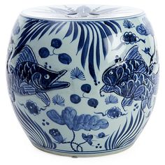 Carved Fish Drum Stool, Blue/White - Poolside Style - Outdoor Essentials - Outdoor One Kings Lane Ceramic Stool, Ceramic Garden Stools, Ceramic Table, White Stool, White Chairs, Office Chair Without Wheels, Drum Table, Egg Designs, Fish Design