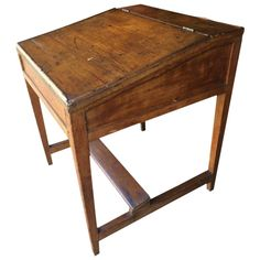 For Sale on - Vintage slant front desk with wonderful character, a plank underneath as a foot rest and a surprise salmon colored interior. Pine Desk, Pine Table, Old School Desks, Old Desks, Table Furniture, Home Furniture, Furniture Projects, Furniture Plans, Wood Projects