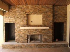 Ledge stone panels fireplace