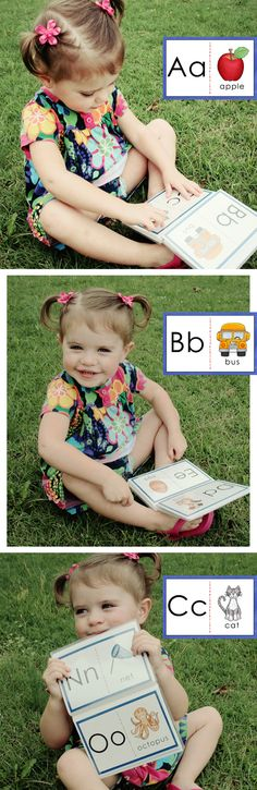 "What's the best way to introduce your toddler / preschooler to the alphabet?  Colorful, interesting pictures, of course!  These 4x6 cards are perfect for printing as photos and inserting into ""brag books.""  Pictures were carefully chosen by a reading teacher (me!) - most consonants are accompanied by CVC words.  This is one of three flashcard sets in my ABC Beginners Cards.   #education #literacy"