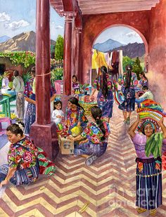 Guatemalan Marketplace Painting by Anne Gifford - Guatemalan Marketplace Fine Art Prints and Posters for Sale
