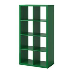 IKEA - KALLAX, Shelf unit, green, , You can use the furniture as a room divider because it looks good from every angle.Choose whether you want to place it vertically or horizontally to use it as a shelf or sideboard. Etagere Kallax Ikea, Ikea Kallax Shelving, Kallax Shelving Unit, Bookcase Shelves, Display Shelves, Storage Shelves, Ikea Regal, Ikea Kallax Regal, Living Room Storage