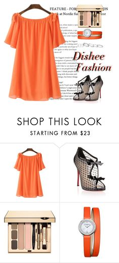"""""""Orange Dress"""" by disheefashion ❤ liked on Polyvore featuring Christian Louboutin, Baume & Mercier and Kendra Scott"""