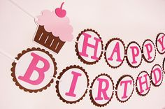 Cute as a Cupcake Happy Birthday Banner by PinwheelLane on Etsy