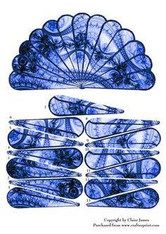 Hand Fan Unusual Blue Black Lace Goth Vintage Decoupage on Craftsuprint - Add To Basket!