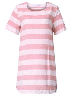 Women Short Sleeve O Neck Stripe Mini Dress