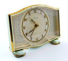 Super Vtg Antique ART DECO KIENZLE ENAMEL Pale Green CLOCK GERMANY Shabby chic | eBay