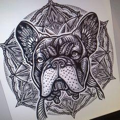 Fun piece. #sacred #geometry #pattern #geometric #geometria #french #bulldog #frenchie #floweroflife #mandala #black #tribal #traditional #neotraditional #tattoo #art #arte #illustration #blacktattooart #animal #doglover #pet