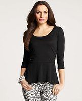 Cotton Modal Peplum Top - Designed in amazingly soft cotton modal, this must-have peplum style tops off a look with just the right touch of feminine flounce. Scoop neck. 3/4 sleeves.