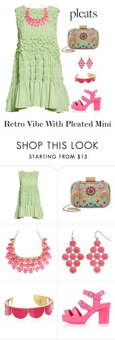 """""""Green Apple Pleated Mini"""" by shamrockclover ❤ liked on Polyvore featuring Molly Goddard, Spartina 449, Gemma Simone and Kate Spade"""