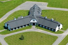 Weatherstone Farm - Aerial View of Stables - The Premier Equestrian Estate for Sale in Hunt Country - Bedminster, NJ