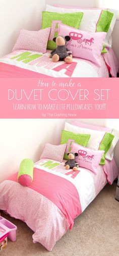 Thinking about a new bedding set for your girl's bedroom? I have a super cute idea here! How to make a Duvet cover Set for Girls and also learn how to make cute pillowcases too! Cute Duvet Covers, Duvet Cover Sets, Bed Covers, Diy Quilt, Girls Bedroom, Bedroom Decor, Sewing Projects For Kids, Sewing Ideas, Duvet Bedding Sets