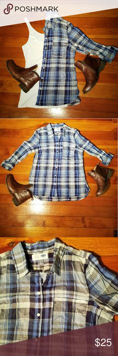 NWT Old Navy Long Sleeve Button front blue plaid NWT Old Navy long sleeve button front blues and white plaid shirt. Light weight. Classic fit. One front pocket. One button on sleeve opening. 100% cotton. Open to offers. Old Navy Tops Button Down Shirts