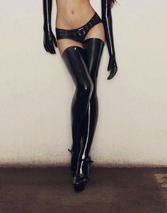 Shiny black latex stockings, gloves, and panties with silver rivets and built in belt. Perfect for a night out with 007.. Buy the supplies to make this: http://mjtrends.com/pins.php?name=black-latex-material-for-lingerie