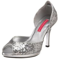 Glitter Peep Toe D'Orsay Shoe from the Bordello collection by Pleaser. In Black, Gold or Silver.