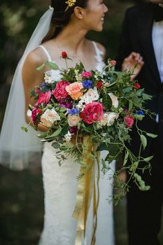 Lovely wedding bouquet with a hint of blue